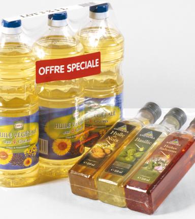 Un exemple de co-packing de bouteilles d'huile