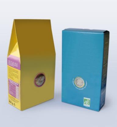 Ensachage de produits alimentaires : deux paquets en carton